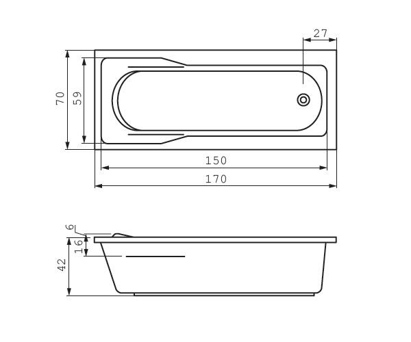 ванна акриловая CERSANIT SANTANA 170х70