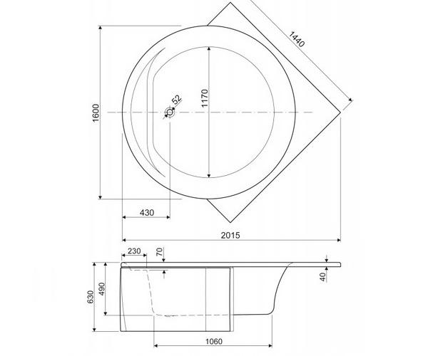 ванна акриловая CEZARES FI 160х160
