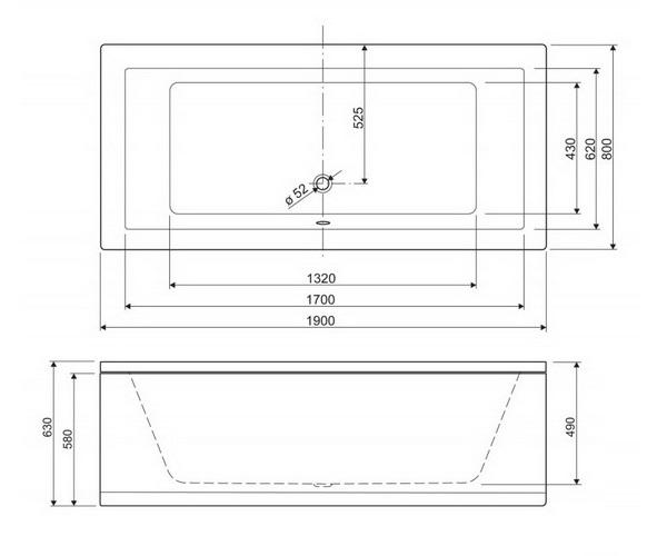 ванна акриловая CEZARES PLANE 190х80