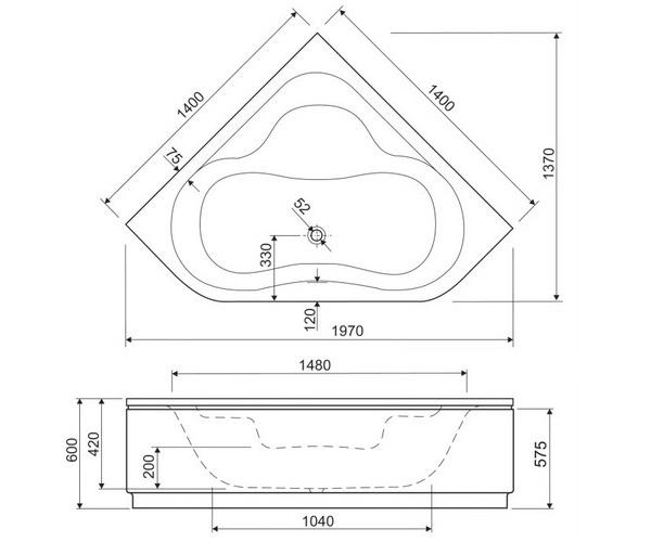 ванна акриловая CEZARES PLITVICE 140х140