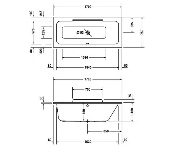 ванна акриловая DURAVIT DURASTYLE 170х75