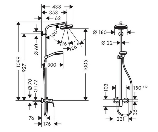 душевая система HANSGROHE CROMETTA SHOWERPIPE