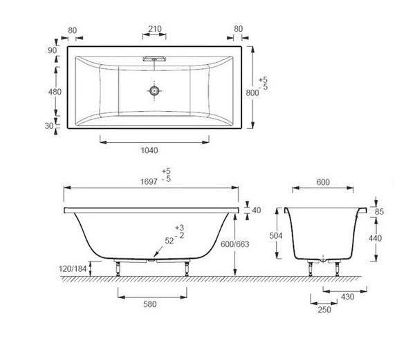 ванна акриловая JACOB DELAFON EVOK 170х80