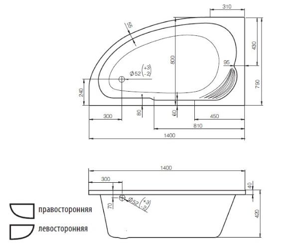 ванна акриловая JIKA DELICIA 140х80