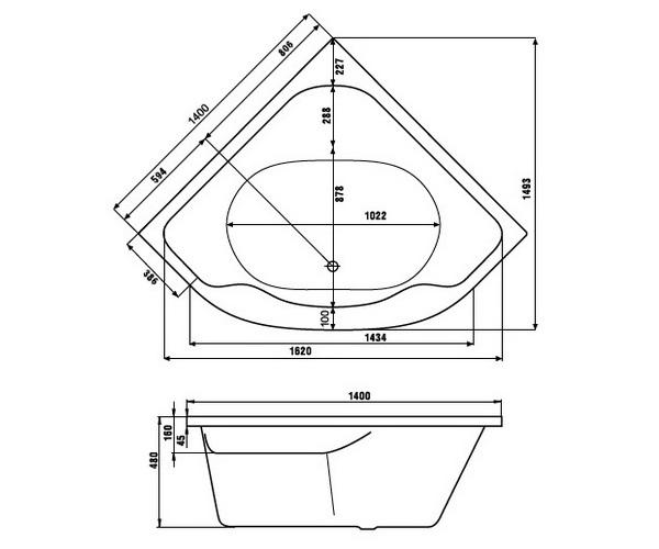 ванна акриловая JIKA LUCERNE 140x140