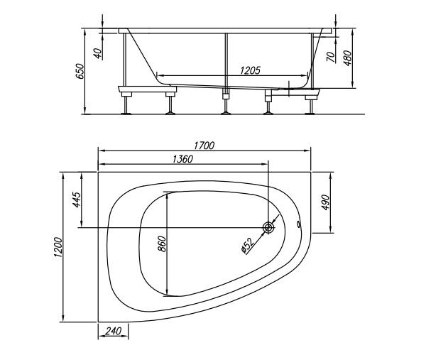 ванна акриловая KOLPA-SAN CHAD 170х120