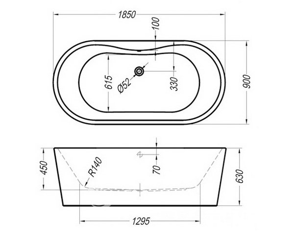 ванна акриловая KOLPA-SAN COMODO 185х90