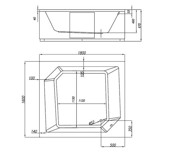 ванна акриловая KOLPA-SAN SAMSON 180х160
