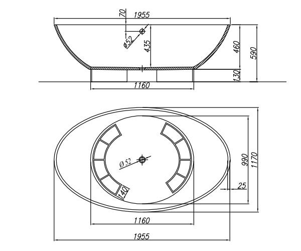 ванна акриловая KOLPA-SAN TRISTAN 196х117