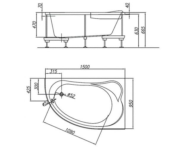 ванна акриловая KOLPA-SAN VOICE 150х95