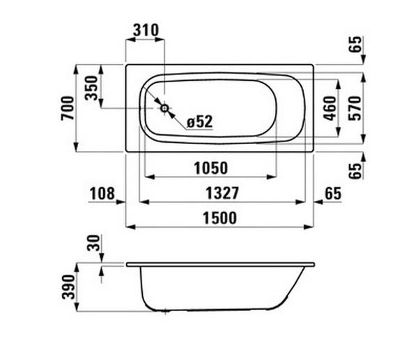 ванна стальная LAUFEN PRO 150х70