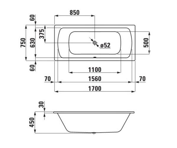 ванна стальная LAUFEN PRO 170х75
