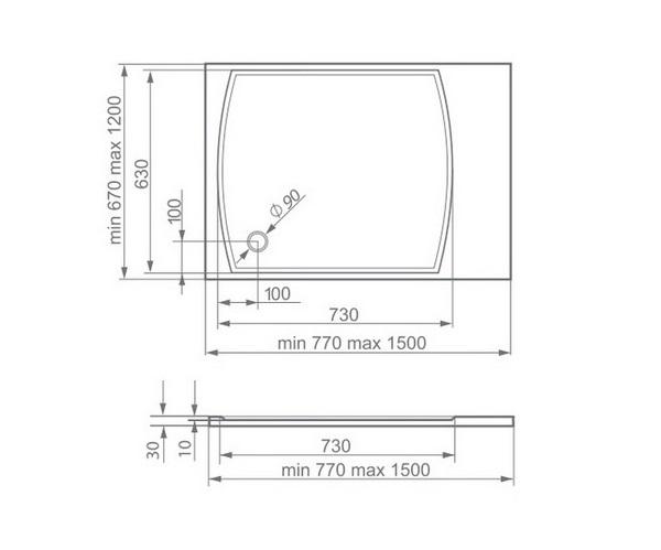 поддон из литьевого мрамора ESSE IP700 77х67