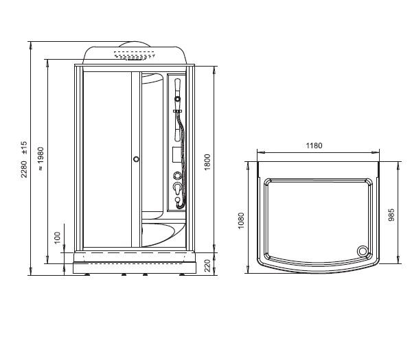 душевая кабина RADOMIR ДИАНА-1 118х108