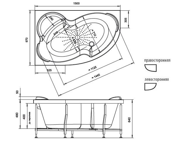 ванна акриловая RADOMIR ИРМА 150х97