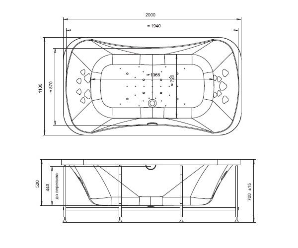 ванна акриловая RADOMIR ЛИОН 200х110