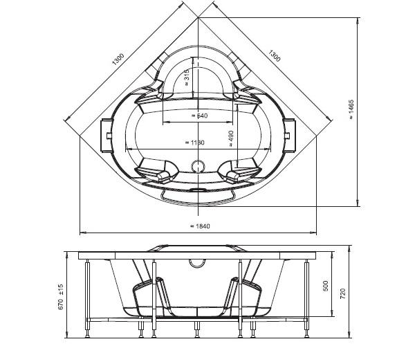 ванна акриловая RADOMIR СОРРЕНТО 130х130