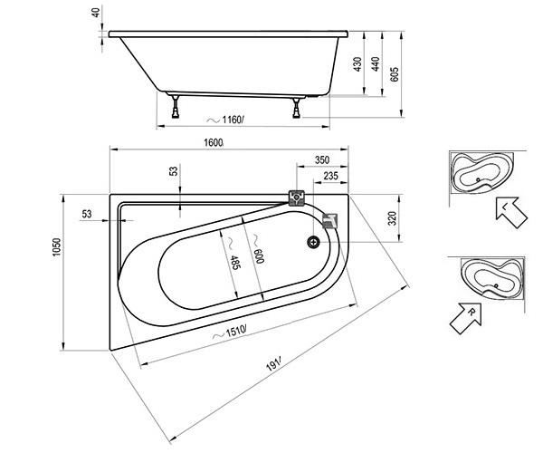 ванна акриловая RAVAK CHROME 160х105