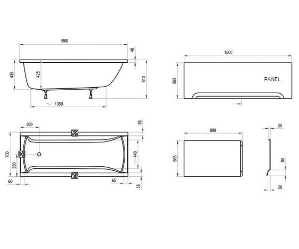 ванна акриловая RAVAK CLASSIC 150x70