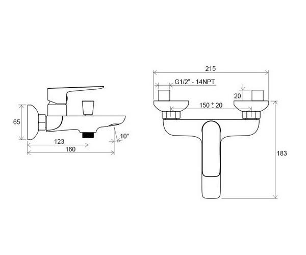 смеситель для ванны RAVAK CLASSIC