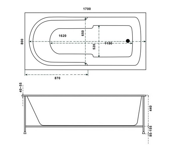 ванна акриловая RELISAN СОНА 170х80