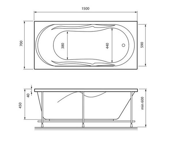 ванна акриловая RELISAN DARIA 150х70