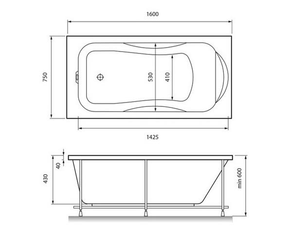 ванна акриловая RELISAN ELVIRA 160х75