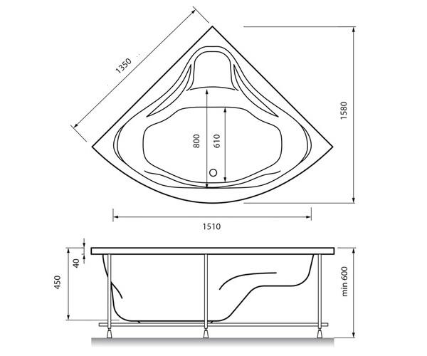 ванна акриловая RELISAN MIRA 135х135