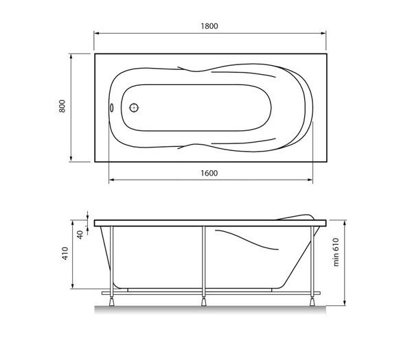 ванна акриловая RELISAN NEONIKA 180х80