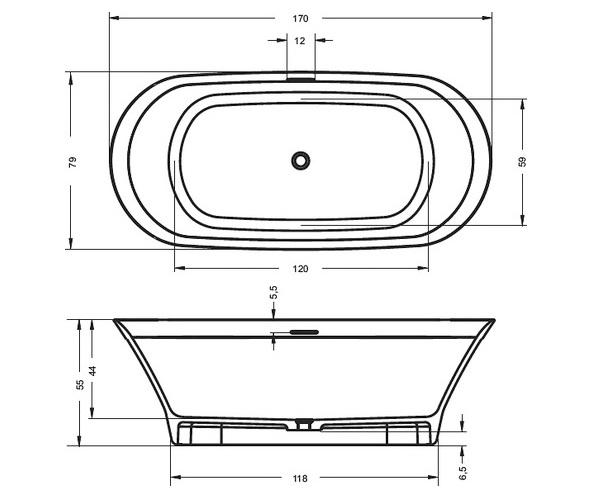 ванна из литьевого мрамора RIHO BARCA 170х79