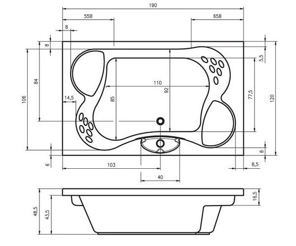ванна акриловая RIHO CLAUDIA 190х120
