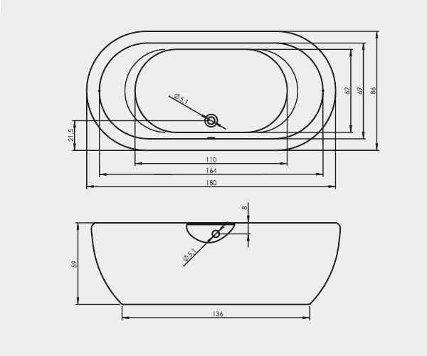 ванна акриловая RIHO DUA 180х86
