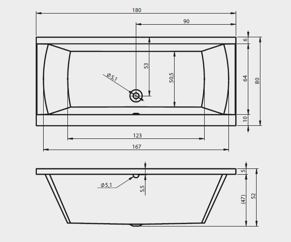ванна акриловая RIHO JULIA 180х80