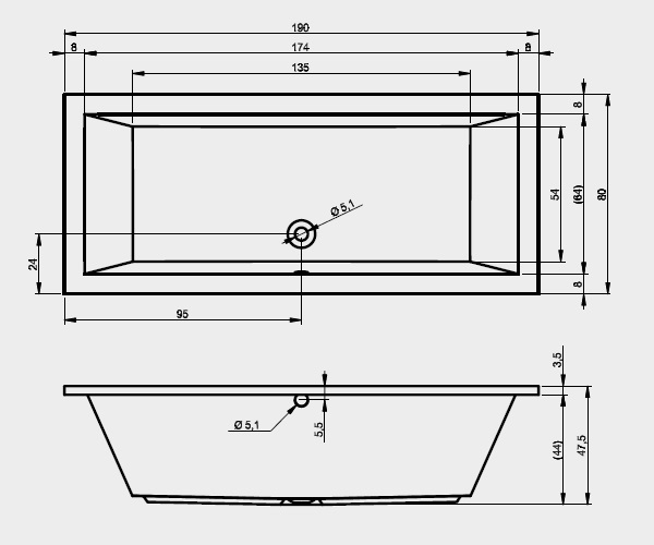 ванна акриловая RIHO LUSSO 190х80