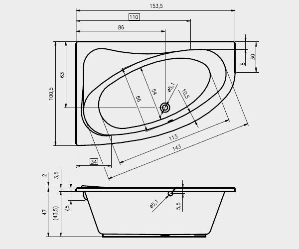 ванна акриловая RIHO LYRA 153х100