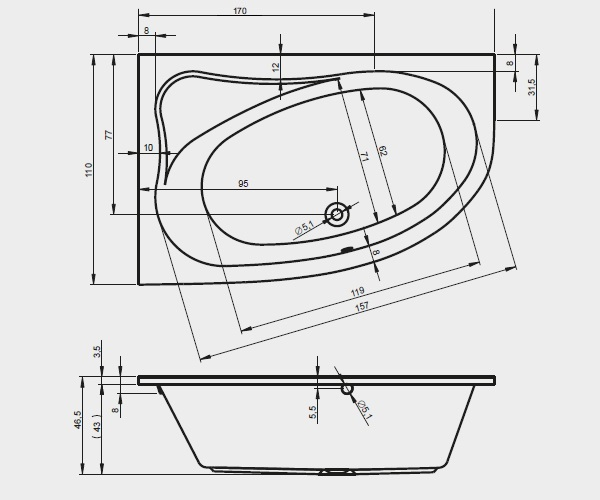 ванна акриловая RIHO LYRA 170х110
