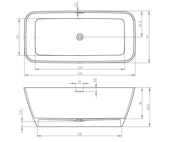 ванна из литьевого мрамора RIHO MALAGA 160х75