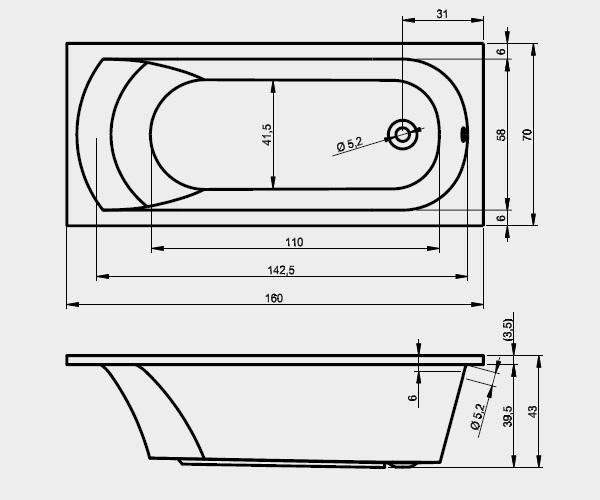 ванна акриловая RIHO MIAMI 160х70