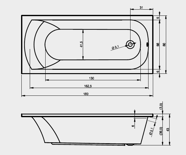 ванна акриловая RIHO MIAMI 180х80