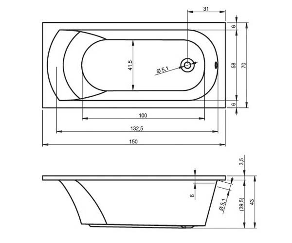 ванна акриловая RIHO MIAMI 150х70