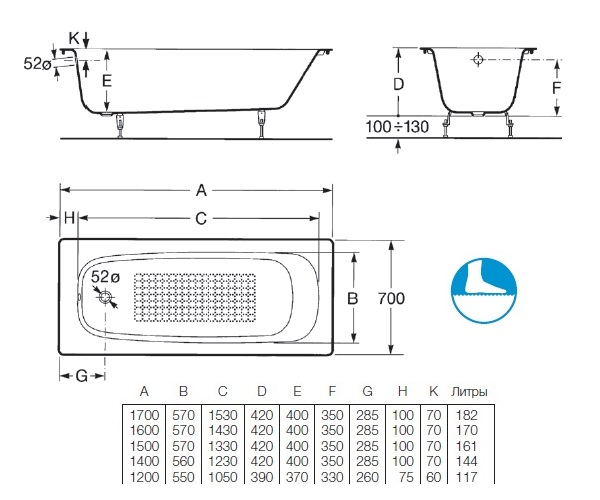 ванна чугунная ROCA CONTINENTAL 170x70