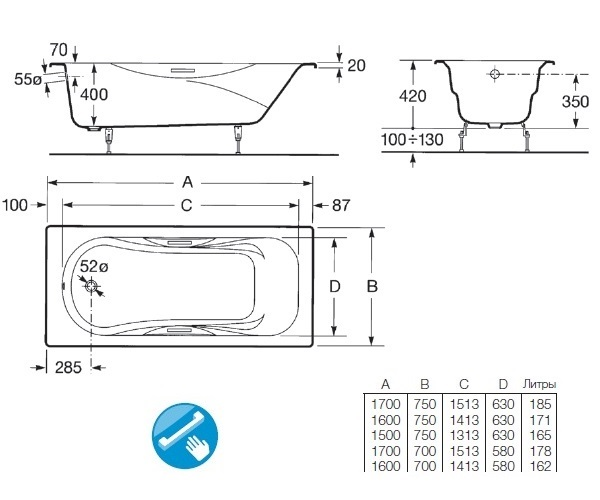 ванна чугунная ROCA MALIBU 160x75