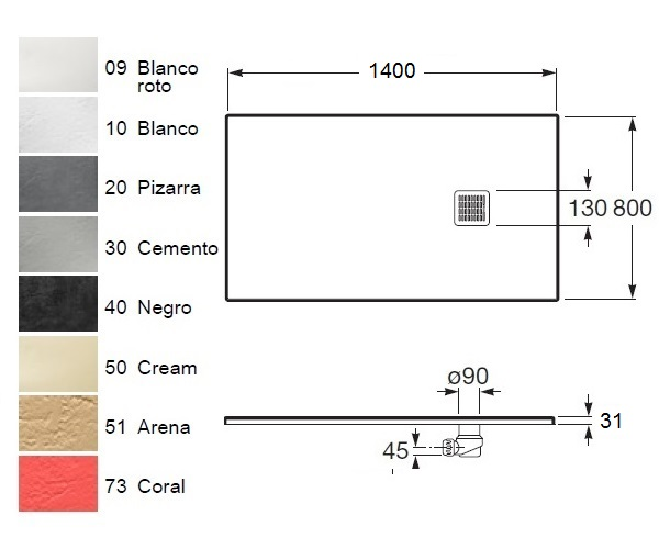 поддон из литьевого мрамора ROCA TERRAN 140х80