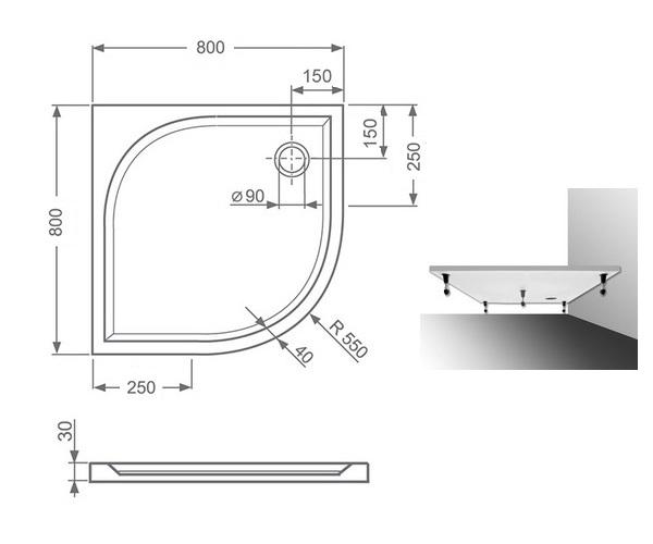 поддон из литьевого мрамора ROLTECHNIK DREAM-M 80