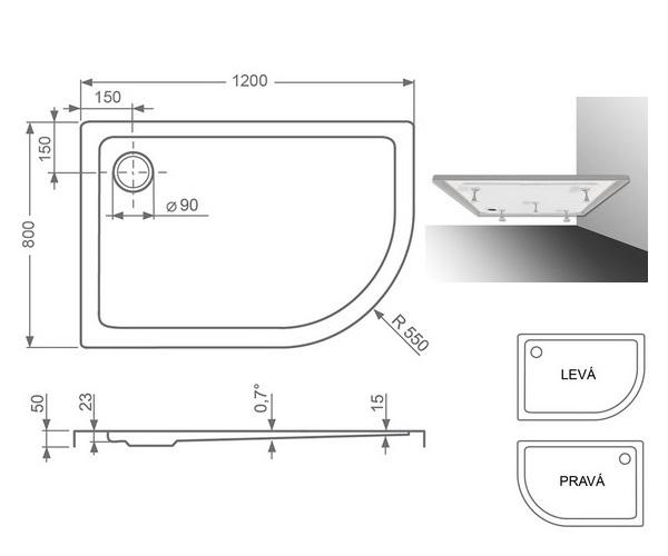 поддон акриловый ROLTECHNIK FLAT ASYMMETRIC 120x80