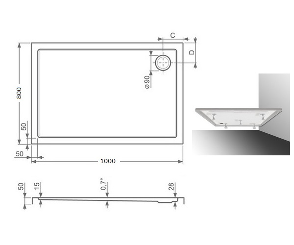 поддон акриловый ROLTECHNIK FLAT KVADRO 100x80