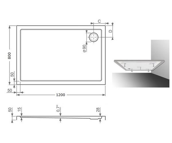 поддон акриловый ROLTECHNIK FLAT KVADRO 120x80