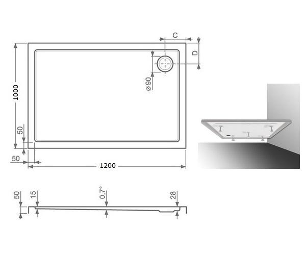 поддон акриловый ROLTECHNIK FLAT KVADRO 120x100