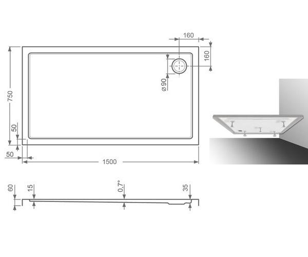 поддон акриловый ROLTECHNIK FLAT KVADRO 150x75