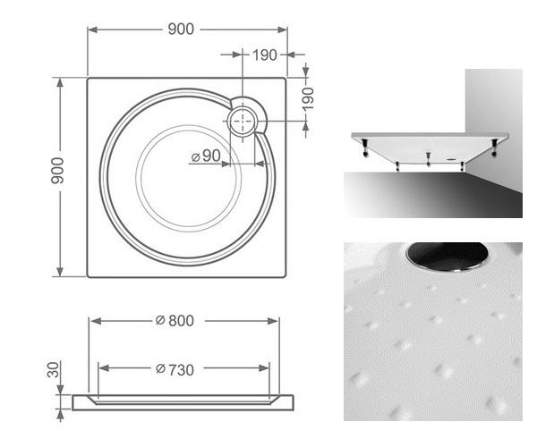 поддон из литьевого мрамора ROLTECHNIK MACAO-M 90
